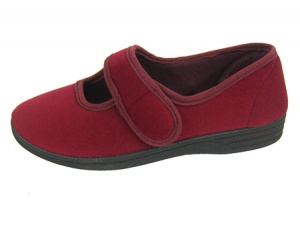 W109 - Ladies ''EE'' Wide fit velour bar slipper