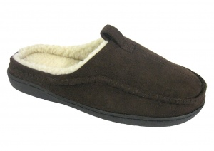 M038 - Mens Microsuede Fur Trim Slipper.