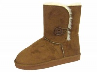 W097 - Ladies Faux suede 1 Button Boot