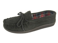 M004 - Mens Fabric Lined Suede Moccasin