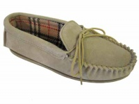 W076 - Ladies Suede Moccasin With Suede Collar & Fabric Lining