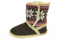 W086 - Ladies Microsuede Knit Leg Bootee