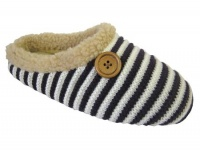 W104- Ladies Striped Rib Knitted Mule.