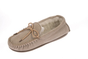 W074 - Ladies Suede Moccasin With Suede Collar & Wool Lining