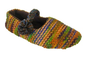 W112 - Ladies Striped Knitted Mary Jane slipper