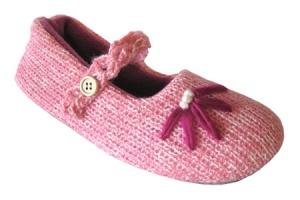 W140 - Ladies Knitted Mary Jane slipper