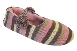 W141 - Ladies Striped Knitted Mary Jane slipper